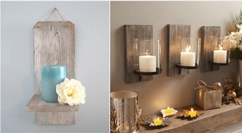 Đặt vật dụng hàng ngày trên những tấm kệ treo tường bằng gỗ pallet