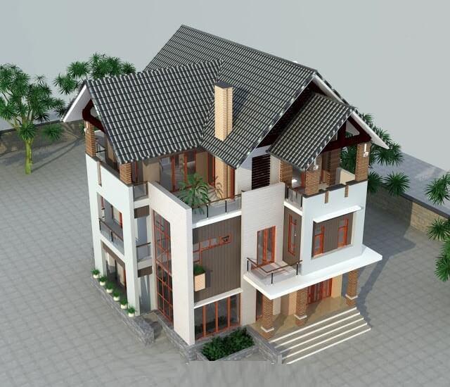 kiến trúc một biệt thự đẹp 3 tầng