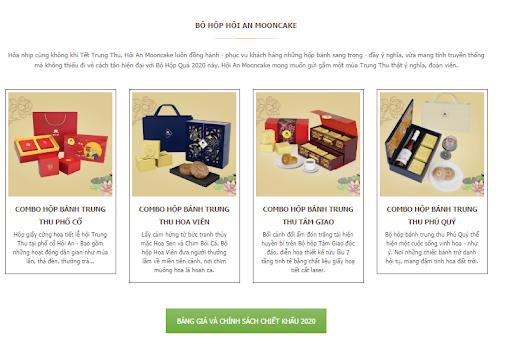 Bộ hộp bánh trung thu và bảng chính sách giá bánh trung thu Hội An Mooncake 2020